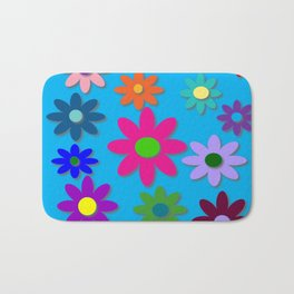 Flower Power - Blue Background - Fun Flowers - 60's Hippie Style Bath Mat