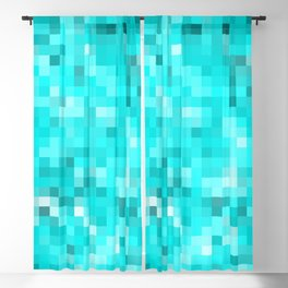geometric square pixel pattern abstract background in blue Blackout Curtain
