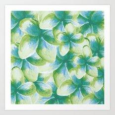 Blue Plumeria Floral Watercolor Art Print