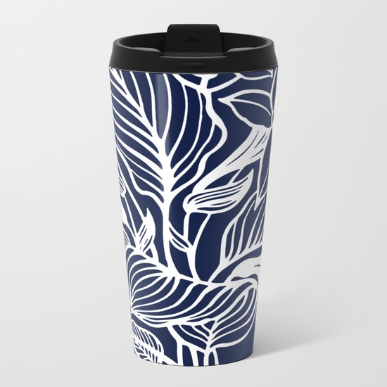 Indigo Navy Blue Floral Metal Travel Mug