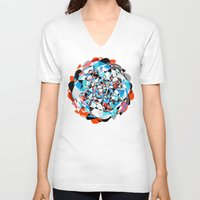 arya V-neck T-shirts featuring Lines and Curves, twisting into each other by Hinal Arya