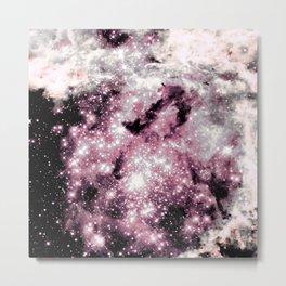 Pink Gray Sparkle Stars Metal Print