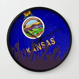 Kansas State Flag with Audience Wall Clock