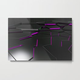 Black fractured surface with purple glowing lines Metal Print