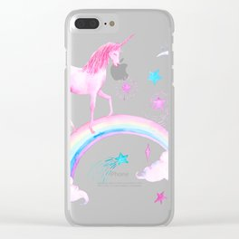 Watercolor Over the Rainbow Pink Unicorn Clear iPhone Case