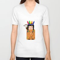 indian V-neck T-shirts featuring Indian by lescapricesdefilles