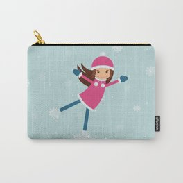 Little girl on skating rink Carry-All Pouch