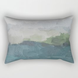 Gray Clouds Green Land Aqua Teal Water Ocean Waves Abstract Nature Painting Art Print Wall Decor  Rectangular Pillow