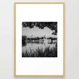 Foliage Framed Denver Skyline Reflections - Square Format - Black and White Framed Art Print