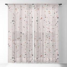 Pink terrazzo - stone Sheer Curtain