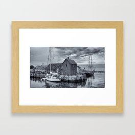 Rockport Harbor Lobster Shack in B&W Framed Art Print