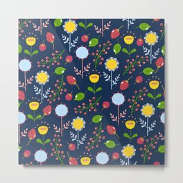 Floral pattern with bright colorful flowers, plants and berries. Metal Print