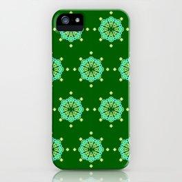 Eight point Mandala, Dark Jade Green and Aqua iPhone Case