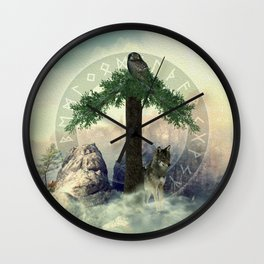 Tiwas Rune  Digital Art Collage Wall Clock