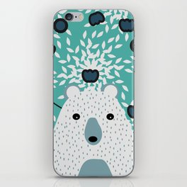 White bear in mint floral rain iPhone Skin