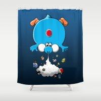 yoshi Shower Curtains featuring Blue Yoshi Galaxy by FeLipe Aquino