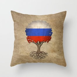 Vintage Tree of Life with Flag of Russia Throw Pillow