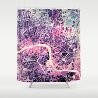 london Shower Curtains featuring London Mosaic Map #2 by Map Map Maps