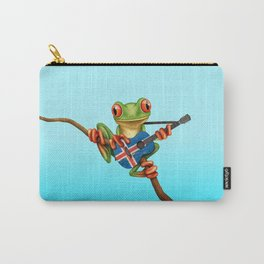 Tree Frog Playing Acoustic Guitar with Flag of Iceland Carry-All Pouch
