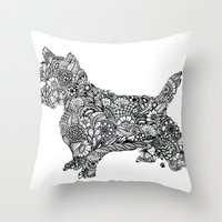 terrier Throw Pillows featuring Terrier by PawPrints