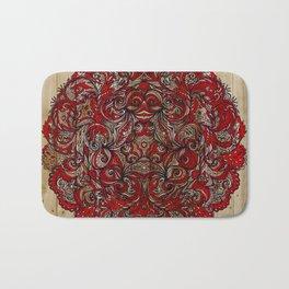 Red Indian Mandala on Wood Bath Mat