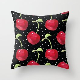 Cherry pattern III Throw Pillow