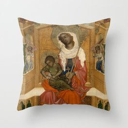 Unknown Artist (Bohemian) - Mary Enthroned with the Child (Glatz Madonna) (1350) Throw Pillow