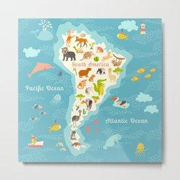 Animals world map, Sorth America. Vector illustration, preschool, baby, continents, oceans, drawn, e Metal Print