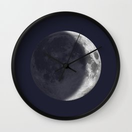 Waxing Crescent Moon on Navy Wall Clock