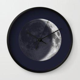 Waxing Crescent Moon on Navy Wall Clock