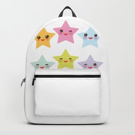 Kawaii stars, face with eyes, pink green blue purple yellow Backpack