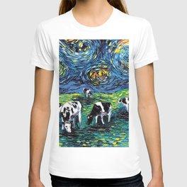Starry Starry Pasture Cow Art T-shirt