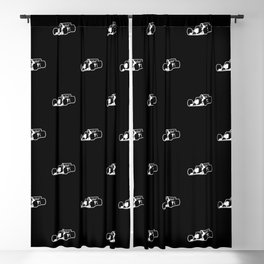 Formula One Black and White Graphic Pattern Blackout Curtain