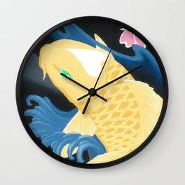 Love Koi Pastel Yellow Wall Clock