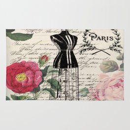 french country rose floral modern vintage dress mannequin paris fashion Rug