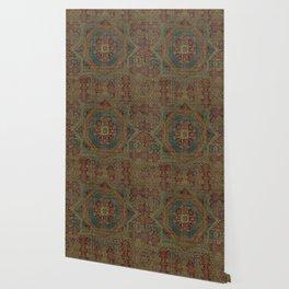 Mediterranean Medallion II // 15th Century Dark Colorful Kaleidoscope Sapphire Blue Red Rug Pattern Wallpaper