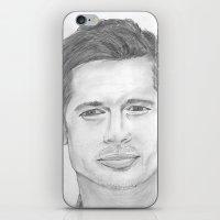 brad pitt iPhone & iPod Skins featuring Brad Pitt by Feroz Bukht