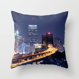Driving to Boston Throw Pillow