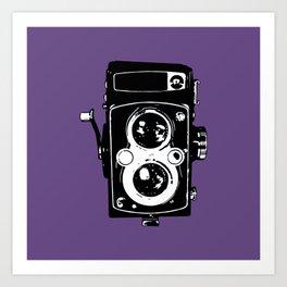 Big Vintage Camera Love - Black on Purple Background Art Print