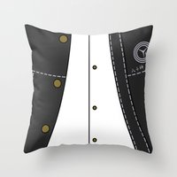 persona 4 Throw Pillows featuring Persona 4 Protagonist Uniform by Bunny Frost
