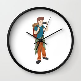 A Perfect Gift For Your Sibling Or Friend An Illustration Of  A Boy Capturing Pictures T-shirt Wall Clock