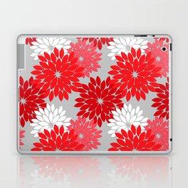 Modern Floral Kimono Print, Coral Red and Gray Laptop & iPad Skin