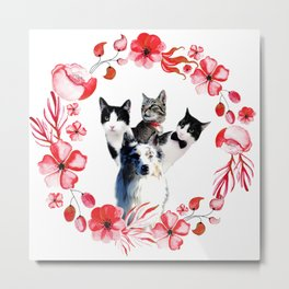 Three Cats And One Dog Flower Metal Print