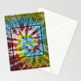 Tie Dye Bandana with Black Paisley Pattern Stationery Cards