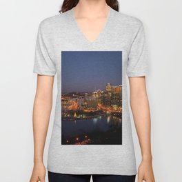 Pittsburgh, Pennsylvania Downtown Night Time River with Bridges Unisex V-Neck