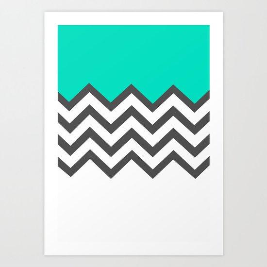 Color Blocked Chevron 9 Art Print