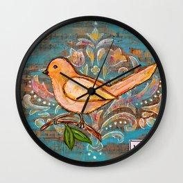 Hope - Mixed Media Bird Wall Clock