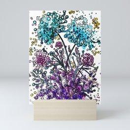 Purple floral watercolor abstraction Mini Art Print