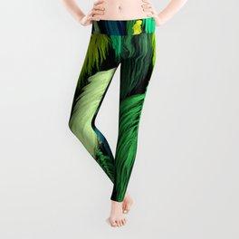 Watercolor Macrame Feather Toss in Black + Green Leggings