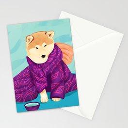 Shiba Inu Wearing a Purple Kimono, Enjoying Matcha Tea Stationery Cards